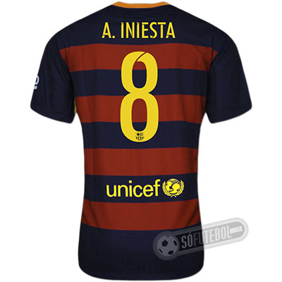 Camisa Barcelona - Modelo I - A. INIESTA #8