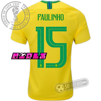 Camisa Brasil - Modelo I Feminina (PAULINHO #15)