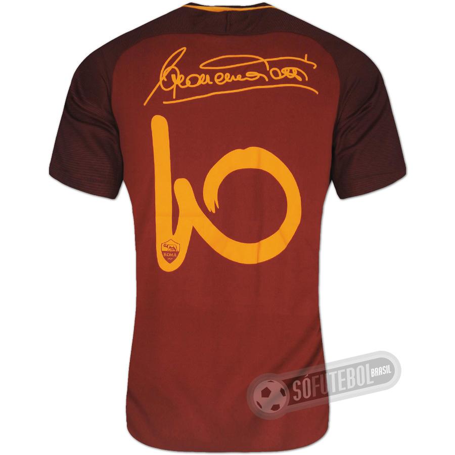 703d444693899 Camisa Roma - Modelo I (TOTTI  10 Assinatura)